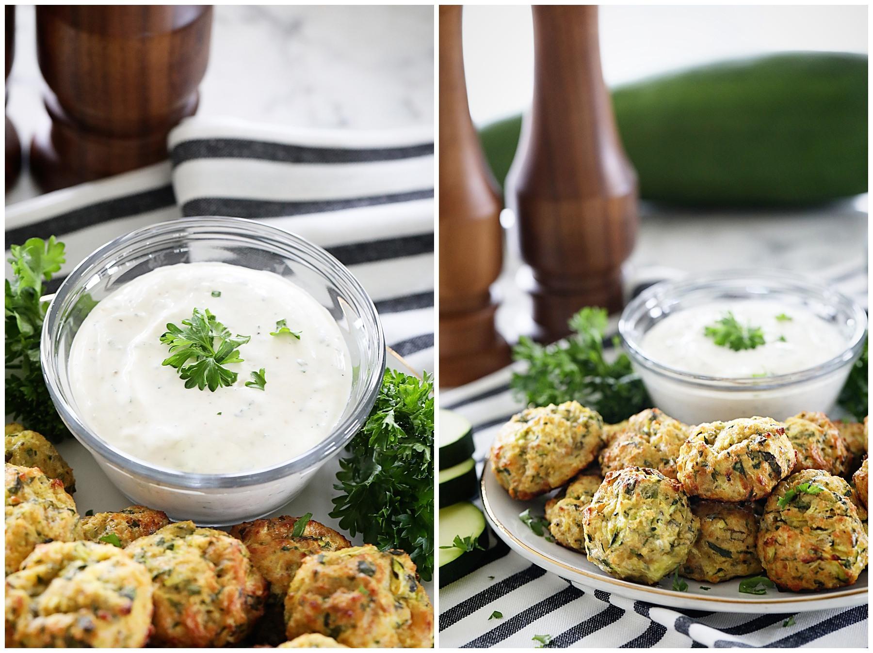 Zucchini Bites with cream garlic dip
